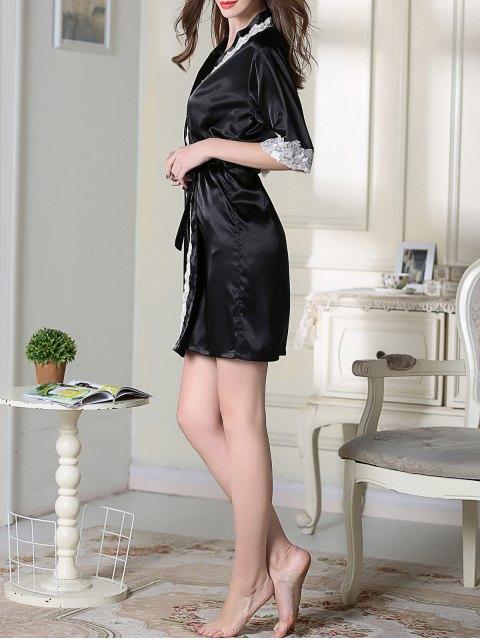 outfits Belted Satin Sleep Kimono Robe - BLACK 2XL Mobile