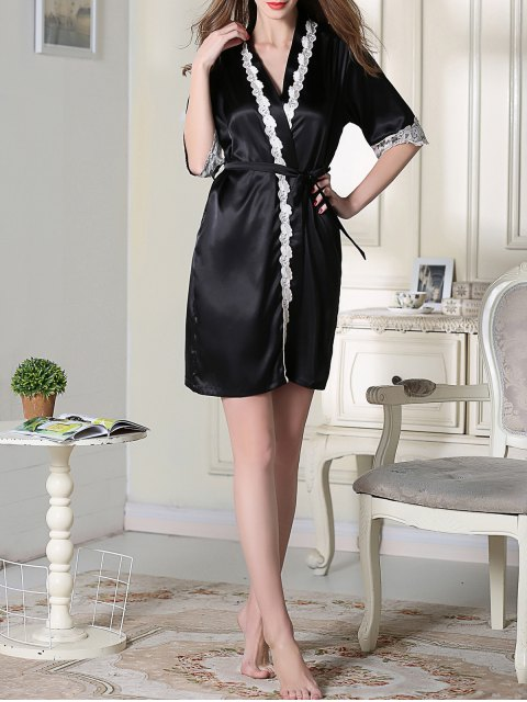 shops Belted Satin Sleep Kimono Robe - BLACK L Mobile