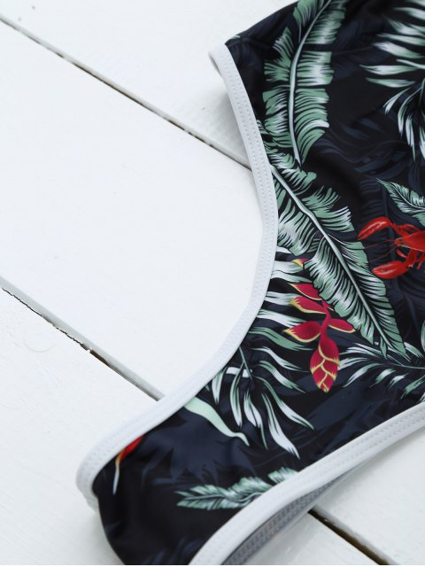 ladies Backless Leaf Printed Swimwear - BLACK M Mobile