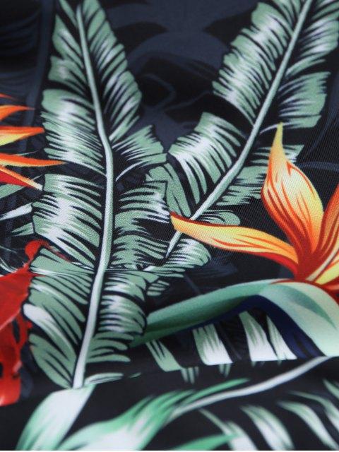 lady Backless Leaf Printed Swimwear - BLACK S Mobile