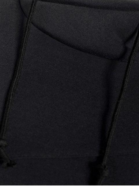 unique High Neck Drawstring Hoodie - BLACK XL Mobile