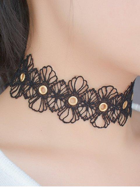 lady Openwork Floral Choker - BLACK  Mobile