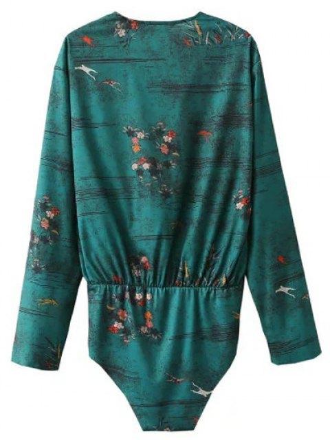 shops Printed Wrap Bodysuit - GREEN L Mobile