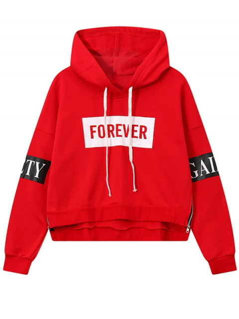 hot Side Zipper Graphic Patched Hoodie - RED ONE SIZE Mobile