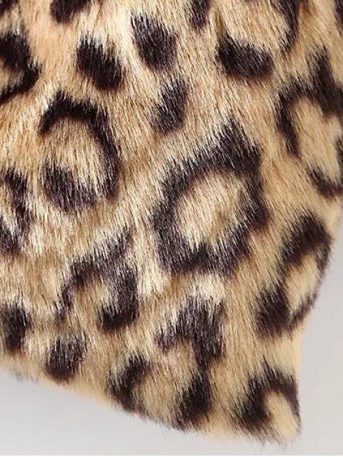 fancy Leopard Pattern Faux Fur Coat - KHAKI S Mobile