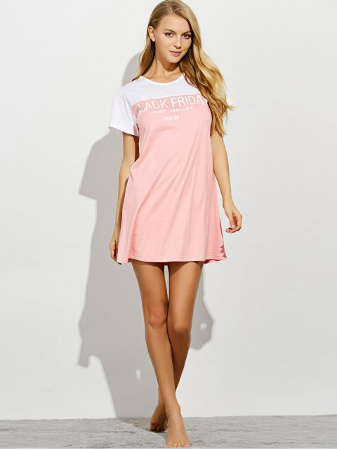 hot Lettering Short Sleeve Lounge Tee Dress - PINK S Mobile