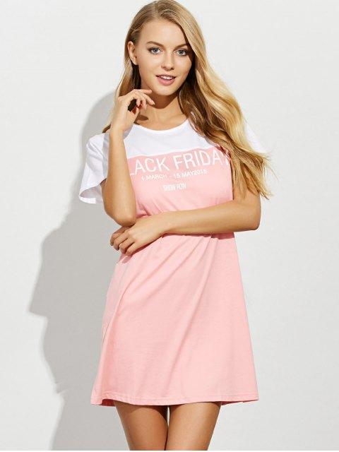 online Lettering Short Sleeve Lounge Tee Dress - PINK L Mobile
