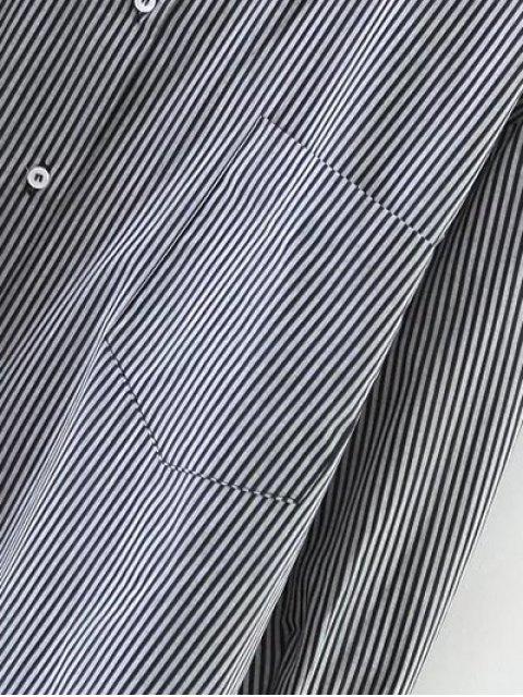 shops Striped Oversized High-Low Shirt - BLACK M Mobile