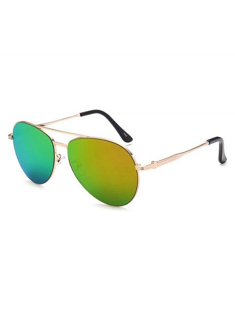 best Metal Crossbar Pilot Mirrored Sunglasses - GOLDEN  Mobile