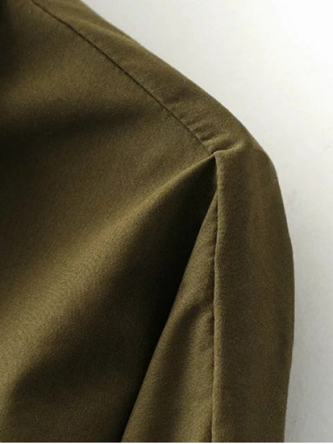 unique Half Zip Patched Blouse - ARMY GREEN M Mobile