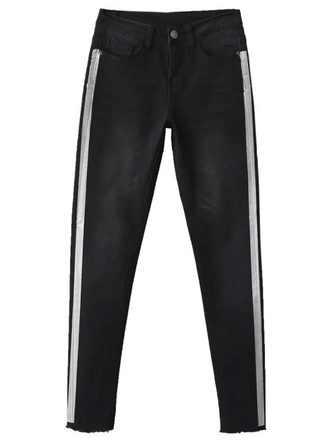 ladies Frayed Tapered Slim Jeans - BLACK 40 Mobile