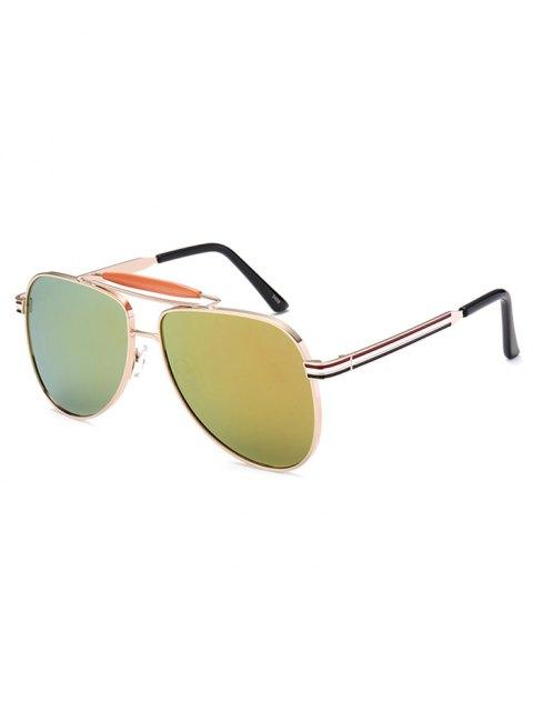 latest Pencil Leg Pilot Mirrored Sunglasses - GOLDEN  Mobile