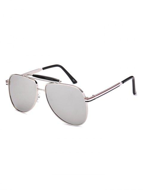 fashion Pencil Leg Pilot Mirrored Sunglasses - SILVER  Mobile