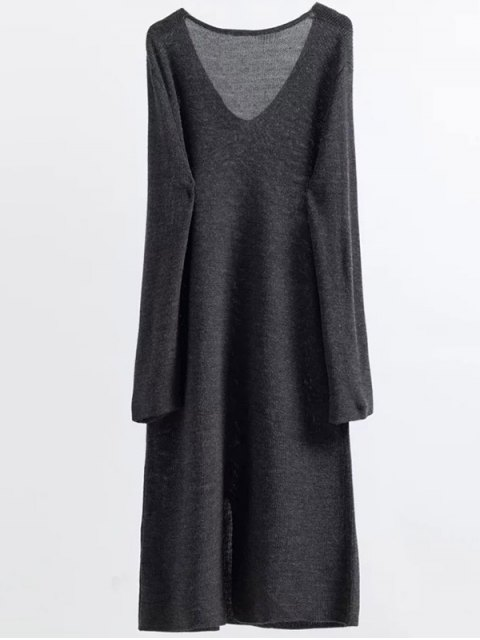 new Long Sleeve Knitting Midi Dress - GRAY ONE SIZE Mobile