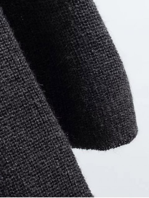 hot Long Sleeve Knitting Midi Dress - PURPLE ONE SIZE Mobile