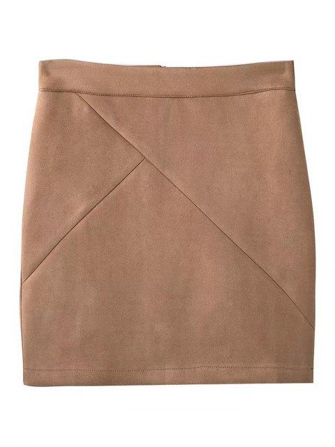 outfits Fake Suede Mini Skirt - KHAKI M Mobile