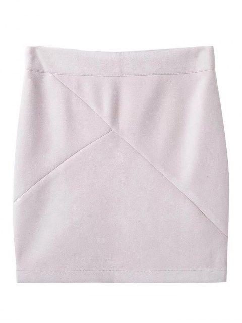 fashion Fake Suede Mini Skirt - WHITE L Mobile