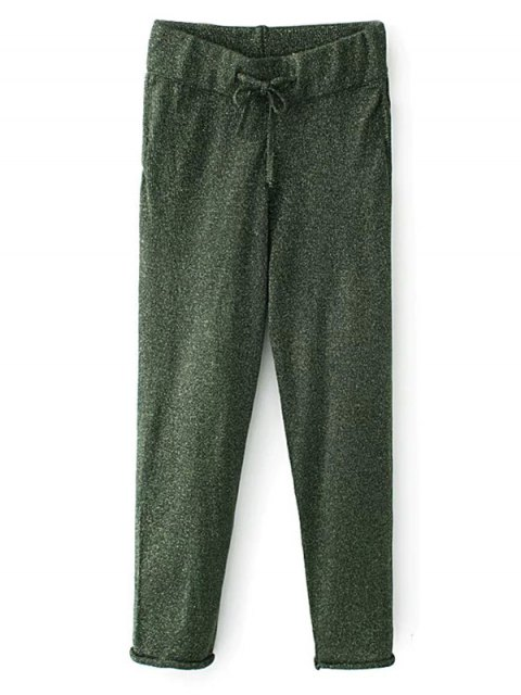 unique Knitted Drawstring Jogging Pants - GREEN M Mobile