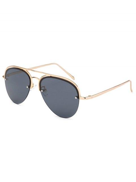 ladies Half Frame Pilot Sunglasses - BLACK  Mobile
