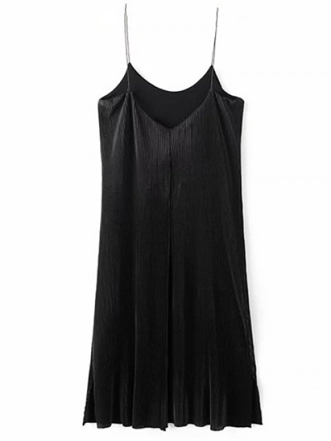 women Ruched Vintage Midi Dress - BLACK S Mobile