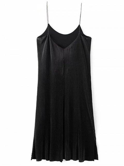 buy Ruched Vintage Midi Dress - BLACK L Mobile