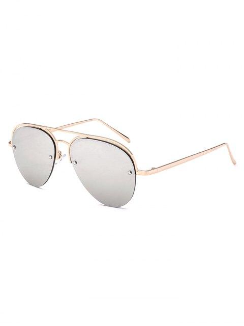 online Half Frame Pilot Mirrored Sunglasses - SILVER  Mobile