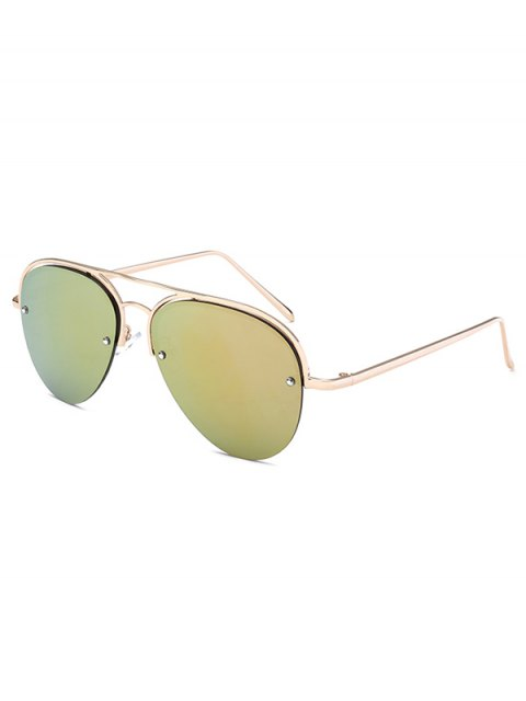 new Half Frame Pilot Mirrored Sunglasses - GOLDEN  Mobile