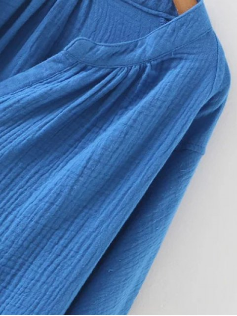 womens Batwing Curved Hem Blouse - BLUE S Mobile