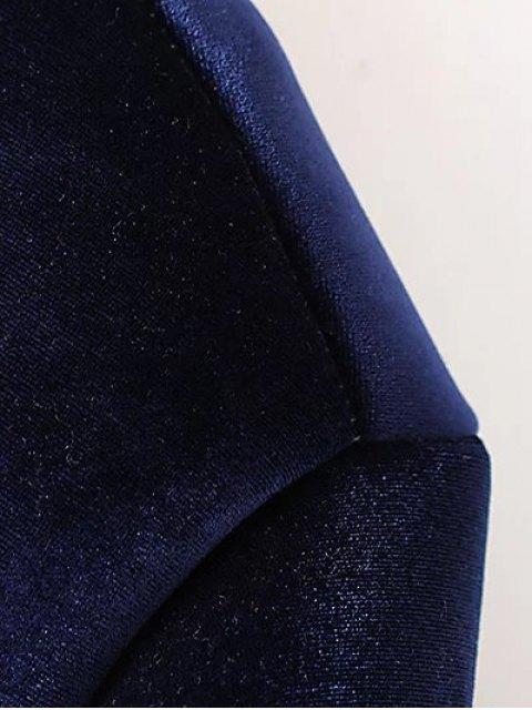 women's Velvet Zipped Bomber Jacket - BLACK L Mobile