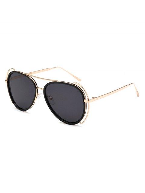 hot Hollow Out Frame Pilot Sunglasses - BLACK  Mobile