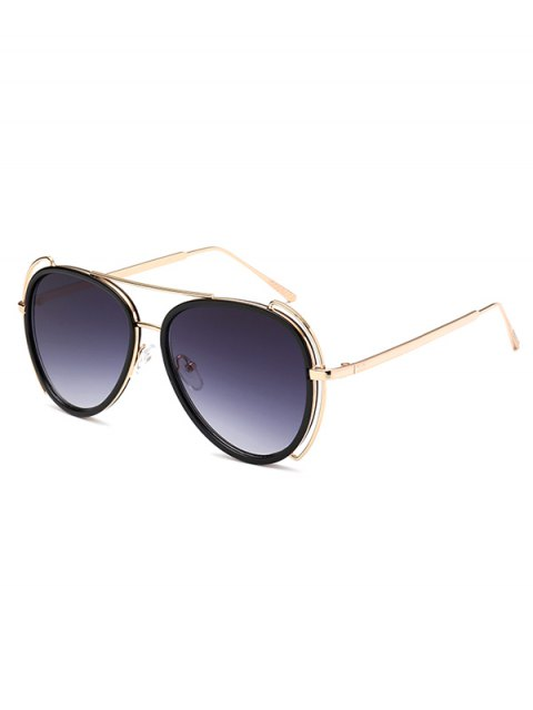 outfit Hollow Out Frame Pilot Sunglasses - DEEP GRAY  Mobile
