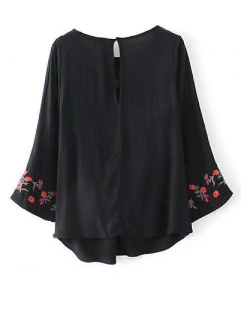 women Flare Sleeve Floral Embroidered Blouse - BLACK L Mobile