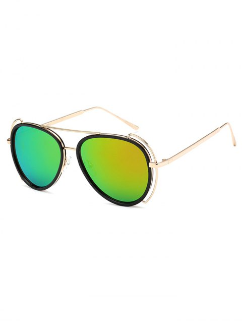 shops Hollow Out Frame Pilot Mirrored Sunglasses - LIGHT GREEN  Mobile