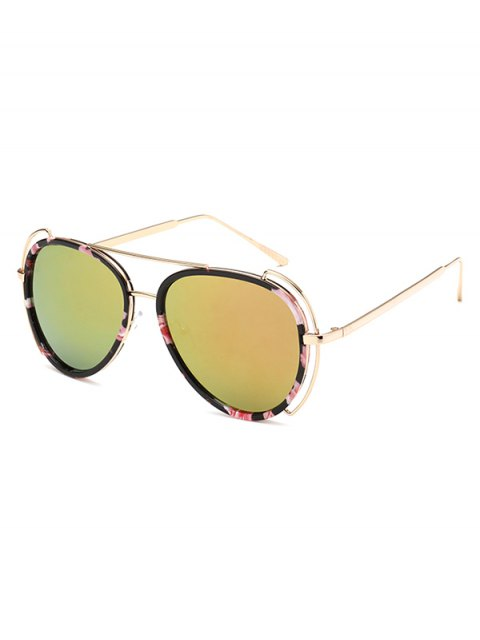 chic Floral Frame Pilot Mirrored Sunglasses - GOLDEN  Mobile