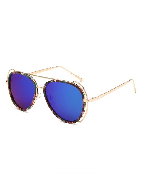 unique Floral Frame Pilot Mirrored Sunglasses - BLUE  Mobile