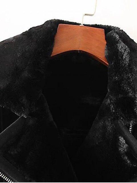 womens Zipped Faux Shearling Waistcoat - BLACK S Mobile