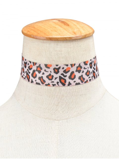 womens Leopard Cloth Choker - LEOPARD  Mobile