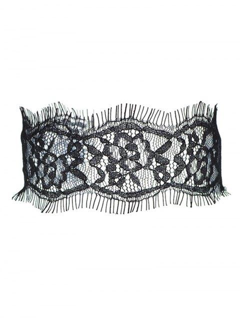 ladies Eyelash Lace Choker - BLACK  Mobile