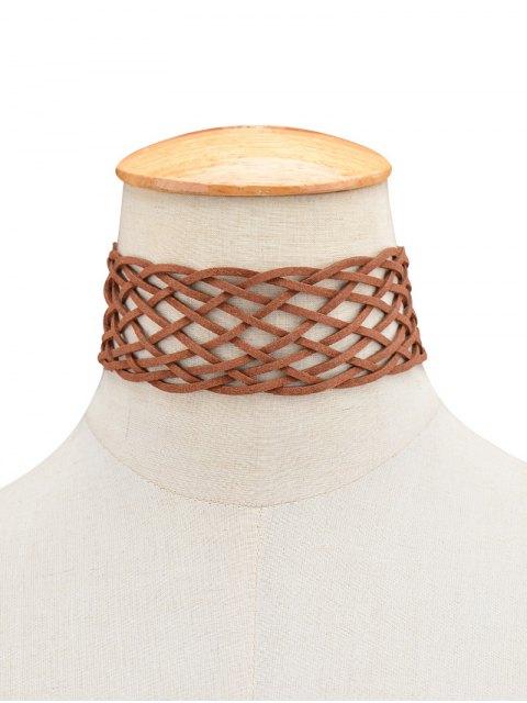 fashion Braided Grid Choker -   Mobile