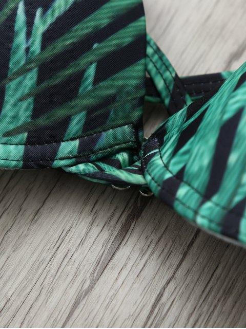 outfit Printed Underwire Strappy Bikini - GREEN L Mobile