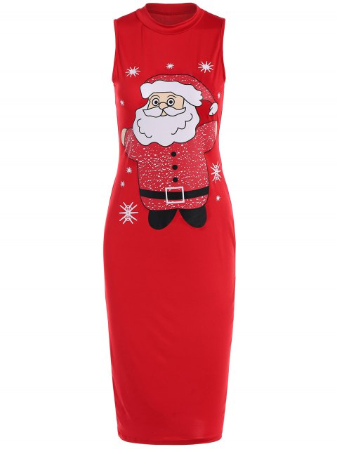 shops Christmas Santa Clause Midi Bodycon Dress - RED S Mobile