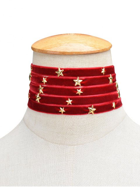 shops Multilayered Star Velvet Choker - BURGUNDY  Mobile