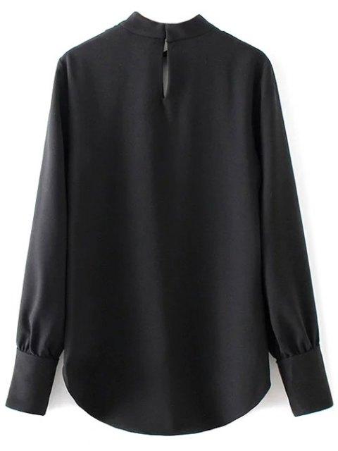 lady High Low Choker Blouse - BLACK S Mobile