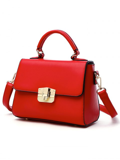shops PU Leather Metal Crossbody Handbag - RED  Mobile
