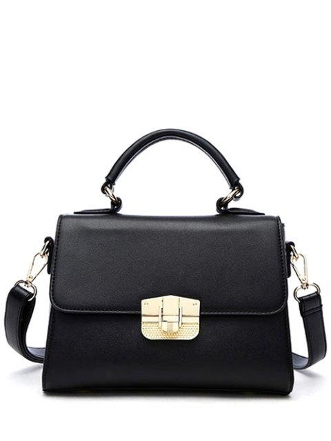 latest PU Leather Metal Crossbody Handbag - BLACK  Mobile