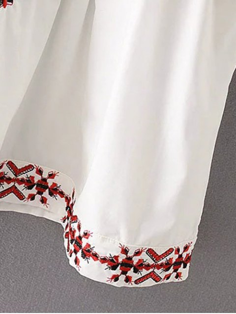 best Flare Sleeve Embroidered A-Line Dress - WHITE S Mobile