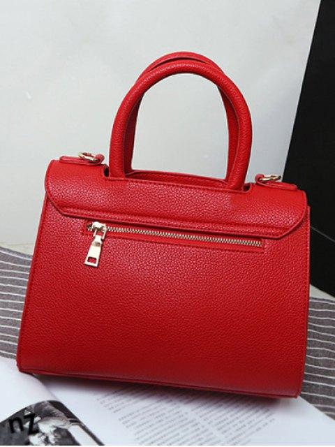 fancy Metal Heart PU Leather Handbag - BLACK  Mobile