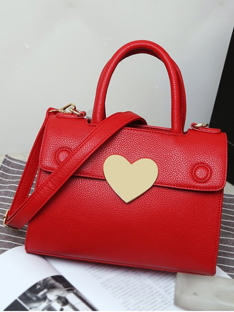 chic Metal Heart PU Leather Handbag -   Mobile