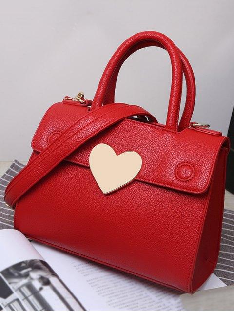 fashion Metal Heart PU Leather Handbag -   Mobile