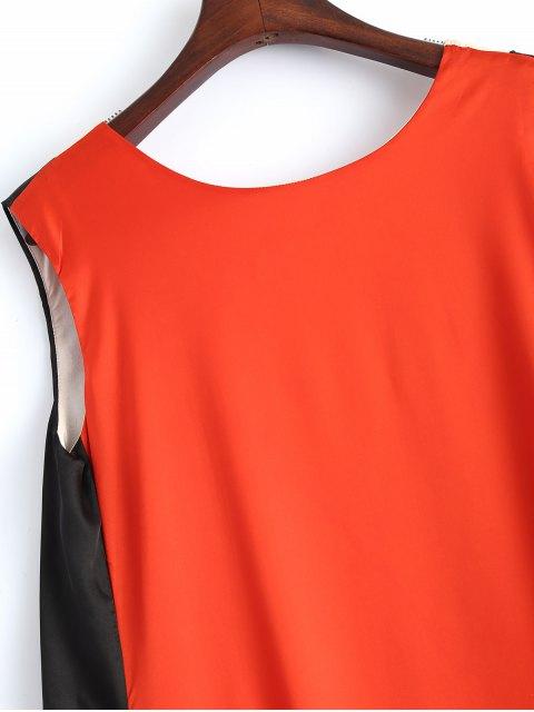 hot Color Block V Neck Trapeze Maxi Dress - MULTICOLOR L Mobile